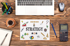 Strategy Concept With Various Hand Drawn Doodle Icons On Paper Royalty Free Stock Photos
