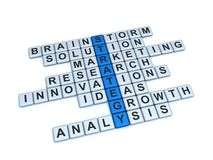 Strategy Concept. Word Strategy and related with it words: brainstorm, solution, marketing, research, innovations, ideas, growth, analysis on a white background Stock Images