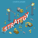 Strategy creation construction building word flat 3d isometric vector. Strategy creation process flat 3d isometry isometric concept web vector illustration Royalty Free Stock Image