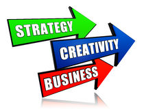 Strategy, creativity, business in arrows Royalty Free Stock Photos