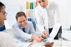Strategy developing. Image of a business team developing the company strategy at the office Royalty Free Stock Photography