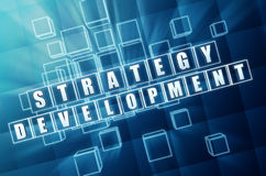 Strategy development in blue glass cubes Royalty Free Stock Photo
