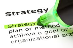 Strategy Dictionary Definition Green Marker Stock Photos