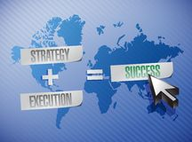 Strategy, execution and success illustration. Design over a world map Royalty Free Stock Images