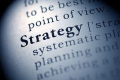 Strategy. Fake Dictionary, Dictionary definition of the word Strategy stock image
