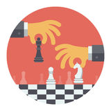 Strategy flat illustration concept. Flat design modern vector illustration concept of two business people playing chess and try to find strategic position and Stock Photo