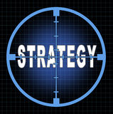 Strategy and focus. On business goals and planning represented by an aiming crosshairs with the text showing the concept to see clearly the strategic aim and vector illustration