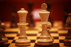 Strategy game. Close up of the white chess king and queen before the start of the game Stock Images