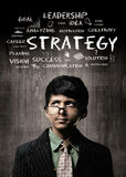 Strategy. Genius Little Boy Wearing Glasses, Thinking Near Chalk Royalty Free Stock Image