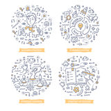 Strategy & Goals Doodle Illustrations. Doodle concepts of strategy planning, creating business plan, setting goals to success, making strategic decisions royalty free illustration