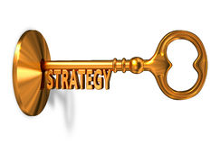Strategy - Golden Key is Inserted into the Keyhole Stock Photo