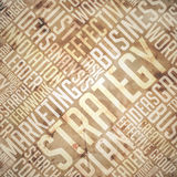 Strategy - Grunge Beige-Brown Wordcloud. Royalty Free Stock Image