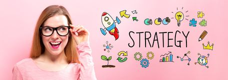 Strategy with happy young woman Stock Photography