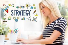 Strategy with happy young woman in front of the computer Stock Images