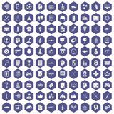 100 strategy icons hexagon purple. 100 strategy icons set in purple hexagon isolated vector illustration Royalty Free Stock Photography