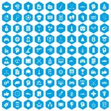 100 strategy icons set blue. 100 strategy icons set in blue hexagon isolated vector illustration Vector Illustration