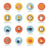 Strategy Icons Set. Business strategy shadow icons set with idea analysis and action symbols flat  vector illustration Stock Image