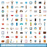 100 strategy icons set, cartoon style. 100 strategy icons set in cartoon style for any design vector illustration Royalty Free Stock Images