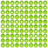 100 strategy icons set green. 100 strategy icons set in green circle isolated on white vectr illustration Vector Illustration