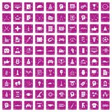 100 strategy icons set grunge pink. 100 strategy icons set in grunge style pink color isolated on white background vector illustration royalty free illustration