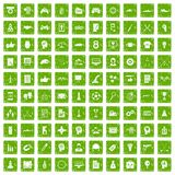 100 strategy icons set grunge green. 100 strategy icons set in grunge style green color isolated on white background vector illustration Stock Illustration