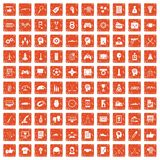 100 strategy icons set grunge orange. 100 strategy icons set in grunge style orange color isolated on white background vector illustration Royalty Free Stock Photo