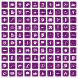 100 strategy icons set grunge purple. 100 strategy icons set in grunge style purple color isolated on white background vector illustration Stock Illustration