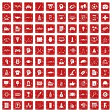 100 strategy icons set grunge red. 100 strategy icons set in grunge style red color isolated on white background vector illustration vector illustration