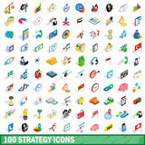 100 strategy icons set, isometric 3d style Royalty Free Stock Photo