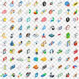 100 strategy icons set, isometric 3d style. 100 strategy icons set in isometric 3d style for any design vector illustration Royalty Free Stock Image