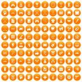 100 strategy icons set orange. 100 strategy icons set in orange circle isolated on white vector illustration Stock Illustration