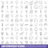 100 strategy icons set, outline style. 100 strategy icons set in outline style for any design vector illustration Stock Photo