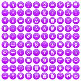 100 strategy icons set purple. 100 strategy icons set in purple circle isolated on white vector illustration Vector Illustration