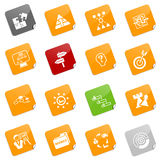 Strategy icons - sticky series. Set of 16 different strategy icons, sticky series. EPS file includes each icon in 5 colors Royalty Free Stock Images