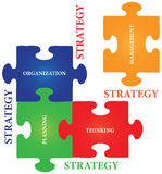 Strategy Jigsaw Puzzle. Vector of four jigsaw puzzle pieces with words on the topic of strategy Stock Image