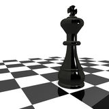 Strategy king. King of the chess game in black, over white check, concept of business strategy Royalty Free Stock Photo