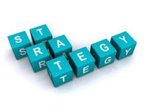 Strategy letter cubes. White on blue letter cubes spelling the word Strategy Royalty Free Stock Images