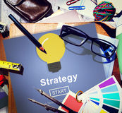 Strategy Light Bulb Icon Homepage Concept Royalty Free Stock Images