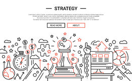 Strategy - line design website banner temlate. Strategy - illustration of vector modern simple line design composition and infographics elements with chess royalty free illustration