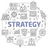 Strategy Linear illustration slide for the presentation. White Bg Linear illustration slide for the presentation Stock Image