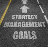 Strategy, management and goals. Paved roadway with white text graphics strategy, management and goals inside printed lanes Royalty Free Stock Photos