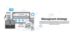 Strategy Management Marketing Plan Business Web Banner. Vector Illustration Royalty Free Stock Image
