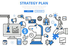 Strategy plan strategic business concept flat line art vector Stock Photos