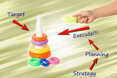 Strategy, planning and execution. Hand arranging stack of colors with arrow and text. Concept strategic planning and executing Stock Photo