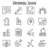 Strategy & Planning icon set in thin line style. Strategy Stock Images