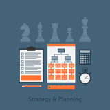 Strategy and planning. Set of business elements icons, strategy and planing concept, flat style illustration Royalty Free Stock Photography