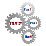 Strategy and plans in silver grey gears Stock Image