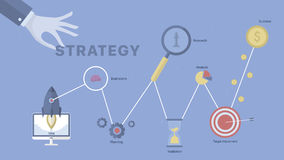 Strategy process background. Concept business vector for investing into ideas, creative innovative work, growing business. Flat illustration with thin broken Royalty Free Stock Photos