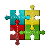 Strategy Puzzle. Strategy business puzzle concept icons Stock Photography