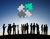 Strategy Puzzle Fit Jigsaw Match Solve Concept Stock Images